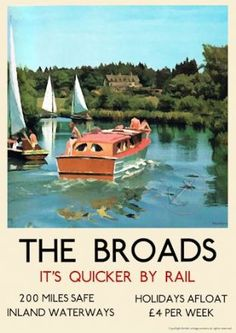 """vintage poster the norfolk broads"" Norfolk Broads, Norfolk England, Vintage Advertising Posters, Vintage Travel Posters, British Travel, Travel Uk, Train Travel, Art Deco Posters, Poster Prints"