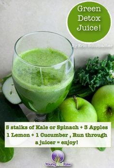 Green Detox Juice This recipe makes approximately two 8 ounce servings. 5 stalks of Kale or Spinach 3 Apples 1 Lemon 1 Cucumber juicing recipes Green Juice Recipes, Healthy Juice Recipes, Juicer Recipes, Healthy Detox, Healthy Juices, Detox Recipes, Healthy Drinks, Healthy Eating, Canning Recipes