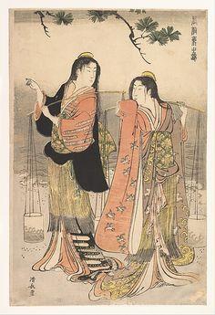 The Brine Maidens of Suma (Shiokumi, Suma)  Torii Kiyonaga  (Japanese, 1742–1815)  Period: Edo period (1615–1868) Date: 1783 Culture: Japan Medium: Polychrome woodblock print; ink and color on paper