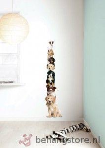 KEK Amsterdam Dogtower (toren jonge hondjes bruin, zwart, wit) - Muurstickers 'Puppy collection' - KEK Amsterdam - KEK Amsterdam - Behang KIDS en Baby - Behangstore