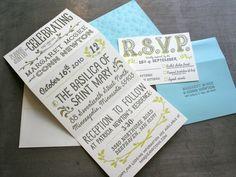 0004 maggie conn letterpress wedding invitation trifold open 600x4501 30 Uniquely Designed Wedding Invitations