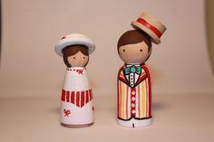 Mary Poppins and Bert Wooden Peg Dolls by scrawnynoggin on Etsy, $25.00
