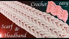 Como tejer a Crochet bufanda y diadema punto encaje en relieve tejido ta...