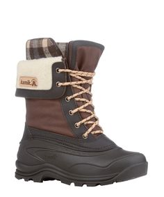 Waterproof Nylon Upper Removable 8mm Zylex® Liner (97% Recycled Content) Moisture Wicking Lining Plaid Fleece Snow Collar Gusset Tongue Waterproof and Lightweight Synthetic Rubber Shell Kamik's PULSE Synthetic Rubber Winter Outsole  Height: 11 In. Weight 2.76 lbsMade in Canada