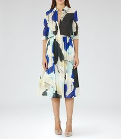 Sia Bright Sapphire/peppermint Printed Midi Skirt - REISS