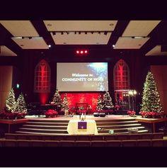 Christmas stage design Christmas Stage Design, Church Christmas Decorations, Church Stage Design, Christmas Shows, Stage Decorations, Blue Christmas, Christmas Trees, Christmas Service, Christmas Program