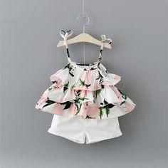 New summer Casual Baby girls sweet Lemon prints Sling T-shirt top + shorts pants Infants 2pcs clothing set S4772
