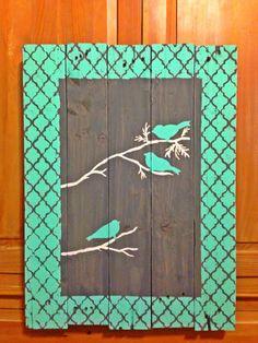 "Beautiful Rustic ""Bird on a Limb"" Pallet art on Etsy, $40.00"