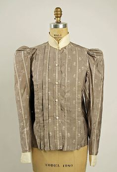 Patterned fawn and ecru silk shirtwaist with ecru linen collar and cuffs, American, 1890s.