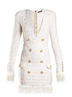 V-neck button-embellished dress | Balmain | MATCHESFASHION.COM US