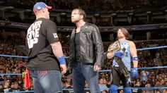 The war of words continues as Cena interjects, and Ambrose says he has no patience for him.