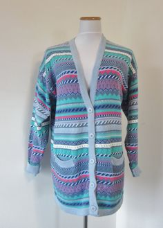 Vintage Cotton Cardigan Long Oversize Sweater Womens Colorful Cardigan Koret Size M