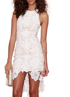 robe High Low dentelle sans manche -blanc