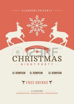 Weihnachtsparty Einladung Retro Typografie und Ornament Dekoration. Weihnachten Flyer oder Poster-Design. Vektor-Illustration Eps 10. Lizenzfreie Bilder - 33258824