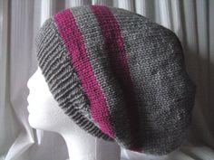 ♥ Beanie XL ♥ Handarbeit ♥ Unikat ♥ gestrickt ♥ Grau / Pink ♥ 30 cm lang