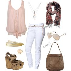 tied up shirt, white jeans, scarf, layered necklace