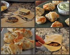 Creative and small bites: Puff Pastry wrapped Turkey Burger Sliders #recipe by @Kelley Epstein {Mountain Mama Cooks}