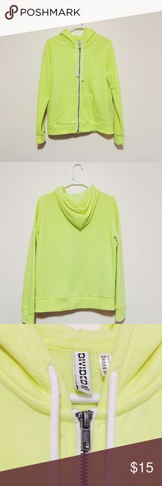 H&M neon hoodie jacket H&M // BDG // Size: large (runs small, fits like a medium) // Color: neon yellow // Worn twice and in great condition // Soft, warm, and vibrant hoodie H&M Tops Sweatshirts & Hoodies