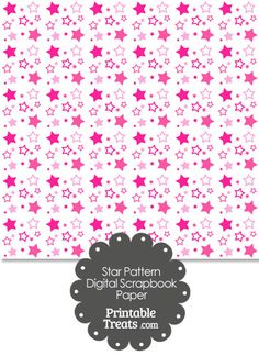 Pink Star Pattern Digital Scrapbook Paper from PrintableTreats.com