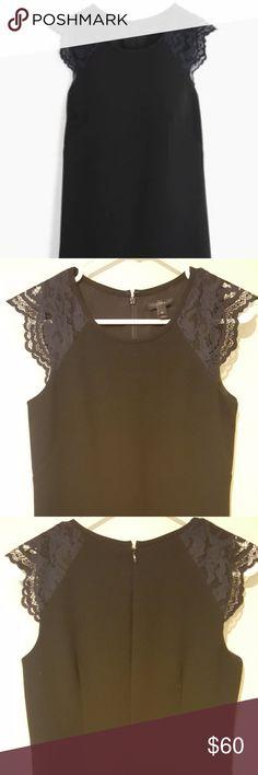 J.Crew Petite 6 Edged Lace Cap-Sleeve Dress Black J.Crew petite 6 edged lace cap-sleeve black dress - Poly/elastane - Back zip - Lined - Machine wash - Slick side pockets - Like new J. Crew Dresses