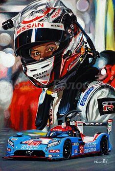 """В ожидании новых побед"", Марк Шульжицкий, Nissan GT-R LM Nismo, Ле-Мана, 2015,  29.5х20, картон,масло, 01.02.2018  ""Waiting for new victories,"" Mark Shulzhitsky, Nissan GT-R LM Nismo, Le Mans, 2015, 29.5x20, cardboard, oil, 01/02/2018"