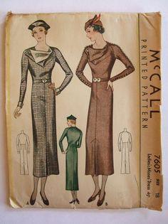 McCall 7605   1933 Ladies' & Misses' Dress