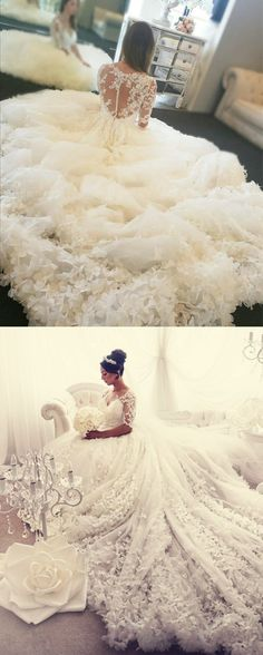 Modest Lace Half Sleeves Tulle Ball Gowns Wedding Dresses With Flowers