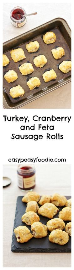 Fancy a sausage roll recipe with a twist? How about making these easy peasy Turkey, Cranberry and Feta Sausage Rolls? They are perfect for taking to Christmas parties or munching on Christmas morning. Or wouldn't they be a fab way of using up leftover turkey for a Boxing Day buffet? #turkeymince #cranberrysauce #feta #sausagerolls #turkeysausagerolls #leftoverturkey #easypeasychristmas #christmasfood #easychristmasfood #christmasrecipes #easychristmasrecipes #easyentertaining…
