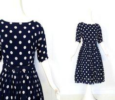 sold // 1950s navy chiffon polka dot dress