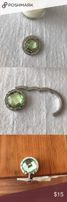 Light green Rhinestone purse hook! So cute!  I use these everywhere I go.  Has rubber grip on bottom to prevent slipping regardless of purse weight.  See other listings for more colors!  🤗 Accessories