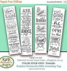 50% OFF SALE Luke 10-13 Color Your Own Bookmarks di karladornacher