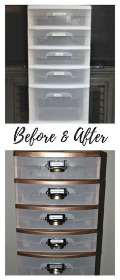 - Makeover A Plastic Storage Cart With Pretty Gold Paint! Makeover A Plastic Storage Cart With Pretty Gold Paint! - Storage Cart - Ideas of Storage Cart Makeup Storage Cart, Craft Storage Cart, Dorm Storage, Paint Storage, Kitchen Storage, Cube Storage, Storage Ideas, Paint Plastic Drawers, Plastic Drawer Makeover