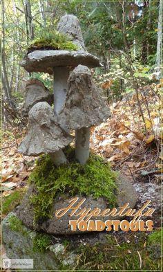 Hypertufa Toadstools - perfect accent for a fairy garden - Hypertufa Toadstools – enter the magic kindgom… Rustic Garden Art Rustic Gardens, Unique Gardens, Outdoor Gardens, Garden Crafts, Diy Garden Decor, Garden Projects, Garden Whimsy, Garden Junk, Garden Ideas