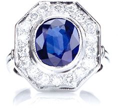 Silks of London Sapphire and Diamond Engagement Ring in Platinum