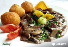 Narancsos-áfonyás szarvaspörkölt Pot Roast, Bacon, Food And Drink, Beef, Dishes, Ethnic Recipes, Carne Asada, Meat, Roast Beef