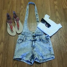 36.5 Jean Romper 36.5 Jean Romper.  Used in good condition. Super cute. Fastened around neck, back out.could be worn with or without a belt. Some stretch. 36.5 Shorts Jean Shorts