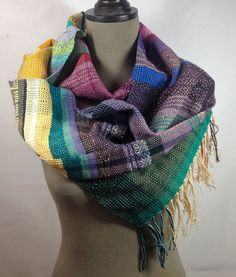 Geneva // Handwoven Custard, Amethyst Orchid & Aquamarine Scarf // Woven Women's Fashion // March Accessories // Colorful Table Runner by pidgepidge on Etsy Cozy Scarf, Acrylic Wool, Luxury Gifts, Geneva, Custard, Turmeric, Wearable Art, Color Inspiration, Orchid