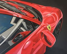 Presented at the Geneva Salon in 2018, it comes with the most powerful V8 engine from Maranello, 720 horsepower. In my painting I show all the reflections and abstract forms that show through the brilliant paint job of the cars Ferrari 488, Car Painting, Geneva, Engine, Automobile, Things To Come, Paintings, Cars, Abstract