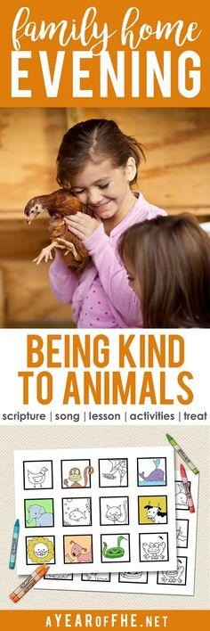 A Year of FHE // Check out this fantastic Family Home Evening about being kind to animals! It includes song, scripture, lesson, two activities to choose from and a lot of ideas for healthy treats that go with the theme! Sunday Activities, Church Activities, Activity Days, Family Activities, Family Night, All Family, Home And Family, Family Goals, Family Scripture