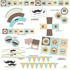 Mustache Bash Baby Shower or Birthday Party by FrogPrincePaperie, $32.00