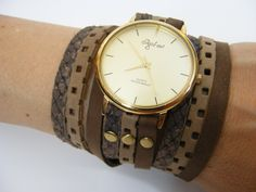 Leather Wrap Watch in Browns Combination-Watch-Watches-Wrist Watch-Women's Watches-FREE SHIPPING by SigalLeviLeather on Etsy