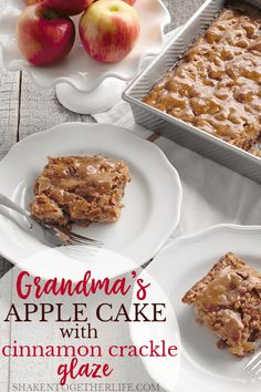 Old Fashioned Cinnamon Apple Cake with Crackle Glaze is tender, studded with apples and walnuts, and is topped with the most delicious cinnamon glaze! *~* too much oil, will reduce, perhaps add more apples. 1 2 try! Apple Cake Recipes, Apple Desserts, Dessert Recipes, Frosting Recipes, Pumpkin Recipes, Dessert Ideas, Fall Recipes, Holiday Recipes, Cinnamon Cake