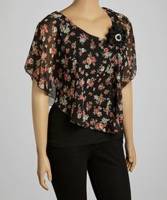 Love this Black & Pink Floral Rosette Cape-Sleeve Top - Plus by Libian on #zulily! #zulilyfinds