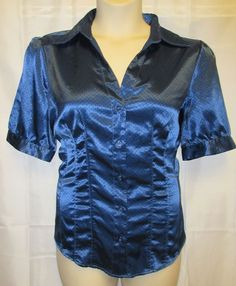 Antilia Femme 2xBlue SatinPolka DotRockabilly Blouse Top Button Up Stretch #AntiliaFemme #ButtonDownShirt #Career
