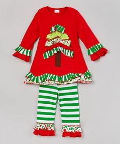 Look at this Sweet Cheeks Red Christmas Tree Tunic & Leggings - Infant, Toddler & Girls on #zulily today!