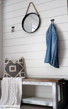 A quick and easy guide on how to create your own DIY Sharpie Shiplap. This post includes a video on how I created an entryway makeover in about an hour. Cottage Entryway, Creating An Entryway, Half Painted Walls, Painting Shiplap, Faux Shiplap, Shiplap Siding, Black And White Pillows, Ship Lap Walls, Beautiful Bathrooms