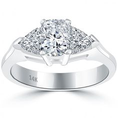 1.83 Carat E-VS1 Three Stone Cushion Cut Diamond Engagement Ring 14k White Gold - Thumbnail 1