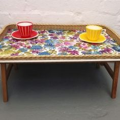 Vintage folding camping table/tray with floral pattern. www.vintageactually.co.uk