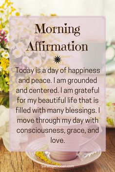 Affirmations are a wonderful way to start your day. They can help you set the tone for how you want your experience to be, and aid you in establishing your intention for the day. Holistic Health Tips for Beginners, , Daily Affirmations Vie Positive, Positive Thoughts, Positive Quotes, Being Positive, Gratitude Quotes, Positive Outlook, Affirmations Positives, Daily Affirmations, Miracle Morning Affirmations