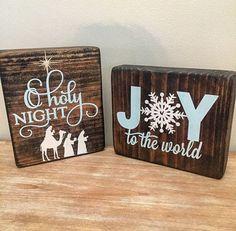 Christmas wood block set Christmas Sign by CoastalCraftyMama